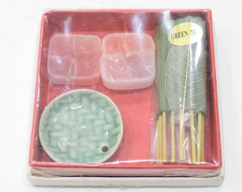 Incense Holders Ceramic Green & White Assorted Dishes with Candles