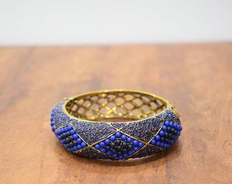 Bracelet Blue Beaded Art Deco Gold Cuff Vintage Bracelet