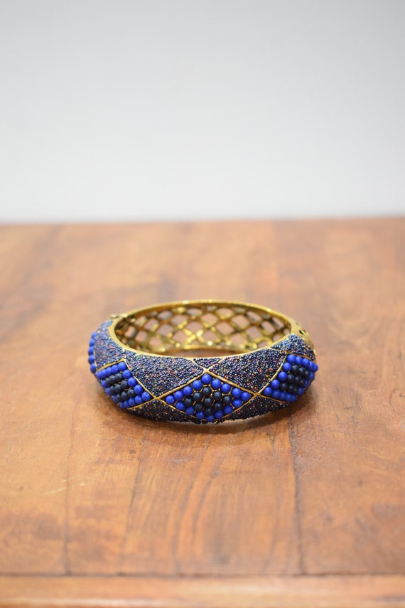 Bracelet Blue Beaded Art Deco Gold Cuff Vintage Bracelet