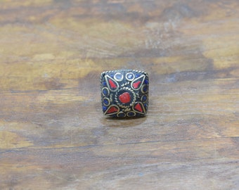 Rings India Brass Inlay Red Square Ring