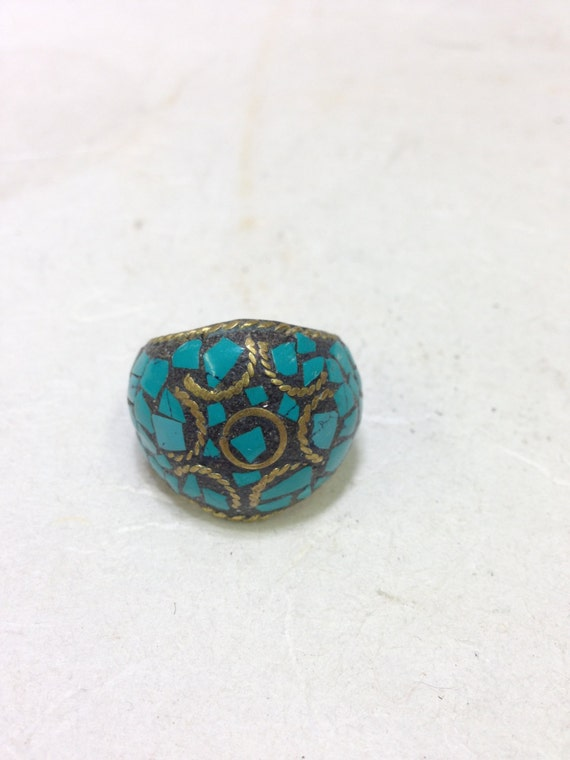 Ring Brass Turquoise Inlaid Chip Round Ring Tibet Handmade Tribal Tibet Turquoise Unique  Statement