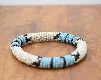 Bracelet Beaded White Blue Black Bead Bangle Bracelet