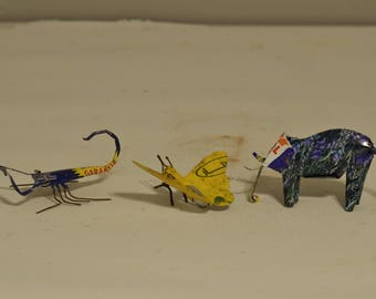 Toy African Recycle Tin Can Tanzania Vintage Toy Lot of 3 Elephant Butterfly Scorpion