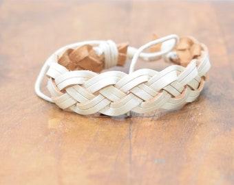 Bracelet White Leather Double Woven Tie Bracelet