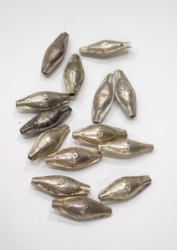 Beads Middle Eastern Kuchi Silver Oval Beads 36-38mm