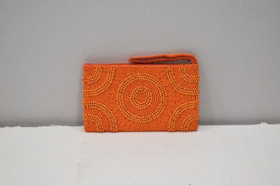 Purse Beaded Orange Clutch Purse