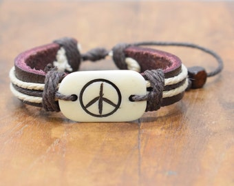 Bracelet Brown Leather Beige Hemp Etched Bone Peace Tie Bracelet