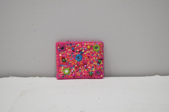 Coin Purse Beaded Pink Satin Sequined Flower Purse