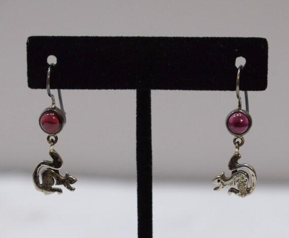 Earrings Sterling Silver Squirrel Red Garnet Stone 35mm