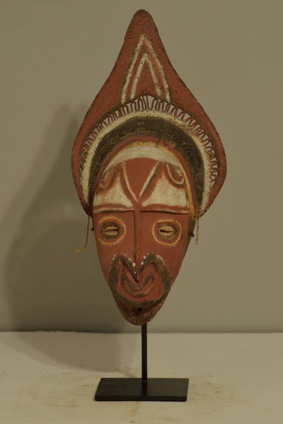 Papua New Guinea Mask Red Balsa Wood Abelam Harvest Yam Mask 17""