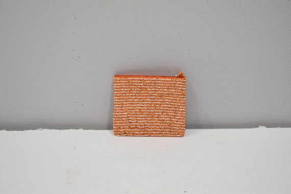 Purse Beaded Orange White Stripe Small  Purse