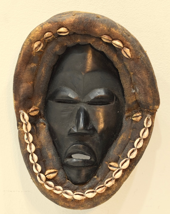 African Mask Dan Tribe  African Liberia Handmade Burnished Wood Cowrie Shells Spiritual Mask