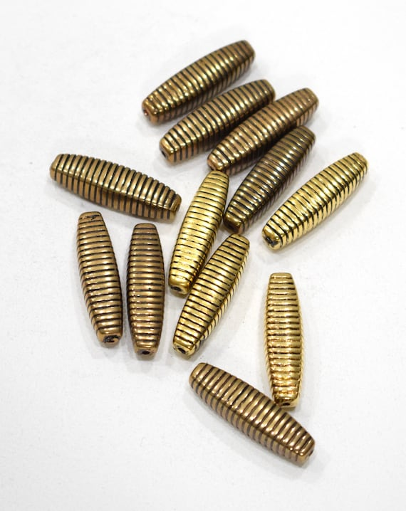 Beads Gold Etched Tube Beads 30mm