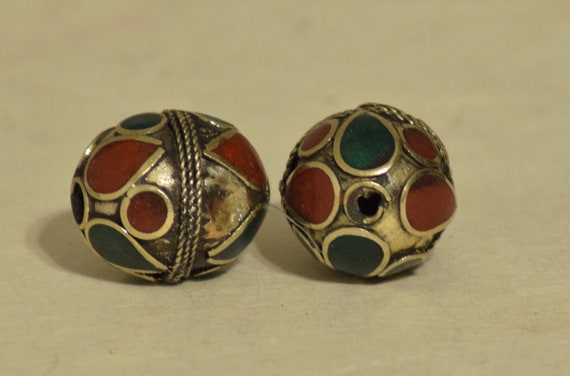 Beads Middle Eastern Red Green Brass Oval Beads 25mm