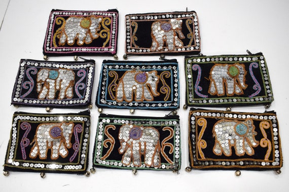 Purses India Sequined Elephant Coin Purses