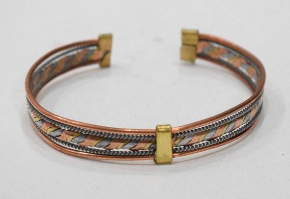 Bracelet Copper Silver Brass Woven Cuff Healing Bracelet