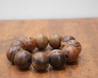 Bracelet Wood Round Beaded Stretch Bracelet