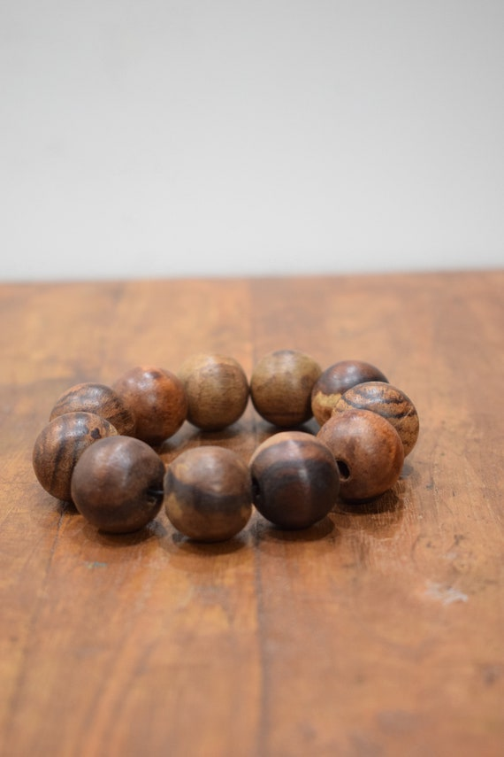 Bracelet Wood Round Beaded Stretch Bracelet