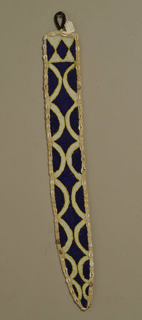 African Yoruba Belt Diviner Beaded Nigeria Sash Handmade White Blue Beaded Cowrie Shell Diviner Ceremonial Yoruba Belt