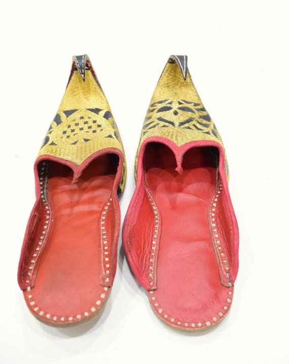 Shoes Gold India Red Leather Wedding Slipper Shoes
