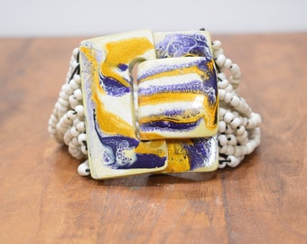Bracelet White Bead Hand Painted Buckle Clasp Bracelet