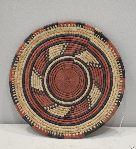 African Nigeria Flat Plate Basket Woven Palm Flat Plate