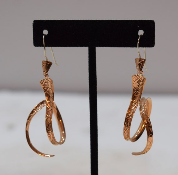 Earrings Plated Copper Hammered Curly Dangle Earrings 64mm