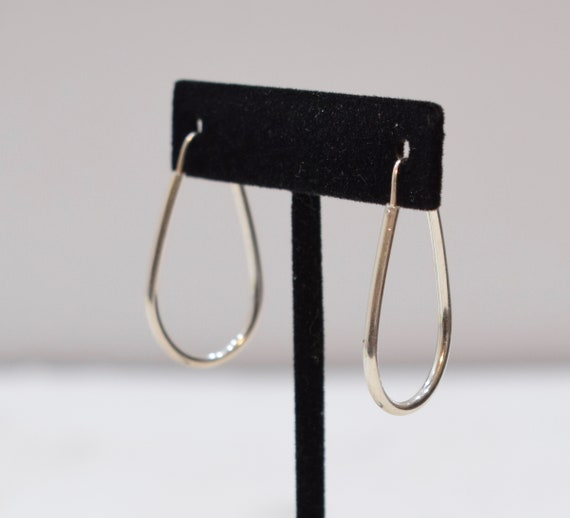 Earrings Sterling Silver Oval Hoop Earrings 38mm