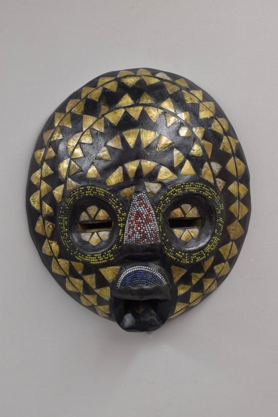 African Mask Baluba Wood Brass Red Yellow Dark Blue Beaded Luba Handmade Mask Ceremonial Spiritual Mask