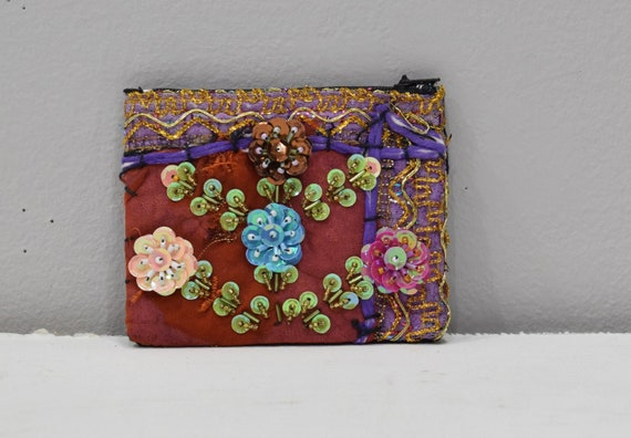 Coin Purse Rose Assorted Sequined Flower Purse