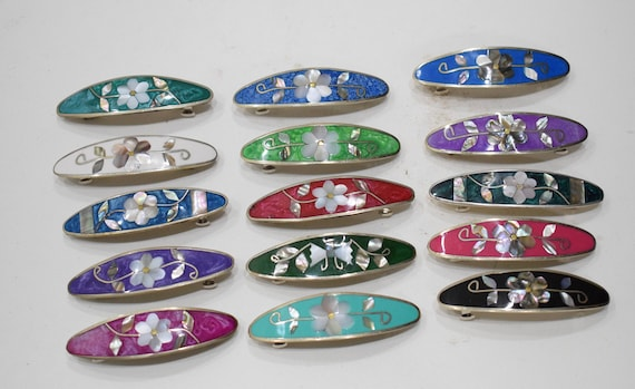 Barrette Hair Assorted Color Flower Inlaid Mother of Pearl Silver Hair Barrettes