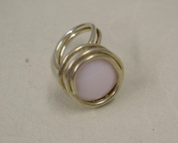 Ring Silver Pale Pink Colored Glass Handmade Glass Silver Jewelry Ring Fun Pale Pink Color Glass Unique