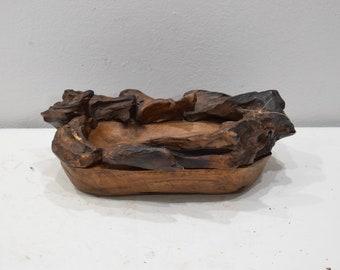 Teak Wood Bowl Hand Carved Thailand Teak Wood Bowl