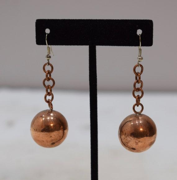 Earrings Plated Copper Ball Chain Dangle Earrings 60mm