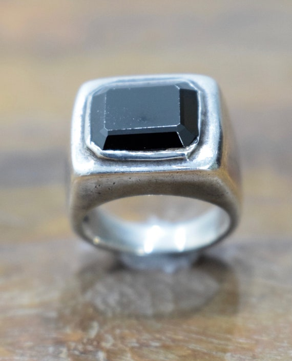 Sterling Silver Black Onyx Square Ring