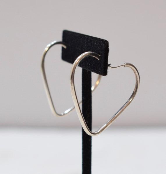 Earrings Sterling Silver Heart Hoop Earrings 32mm