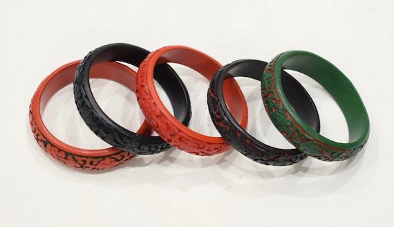 Bracelet Chinese Cinnabar Half Round Floral Bracelet