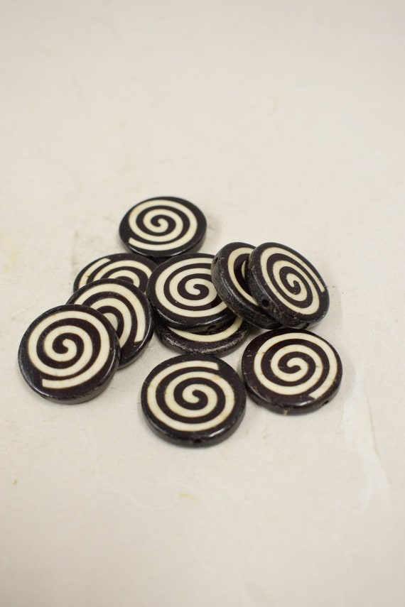 Beads Indonesian Batik Bone Circle Beads 25-26mm