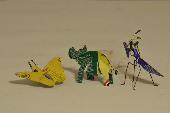 Toy African Recycle Mulit Color Tin Can Tanzania Vintage Toy Lot of 3 Rhino Butterfly Praying Mantis