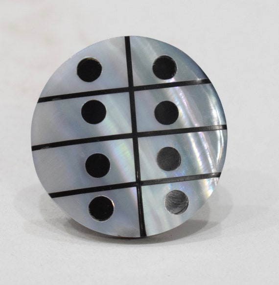 Ring Black Horn Inlaid Mother of Pearl Ring Indonesia
