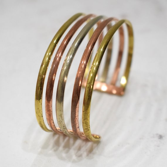 Bracelet 5 Band Copper Brass Silver Cuff Bracelet