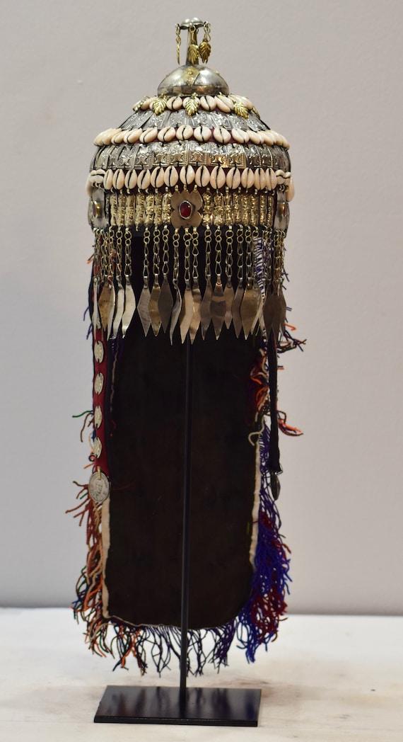 Headdress Wedding Turkmen Ceremonial Shell Kuchi Coin Pendants Wedding Hat