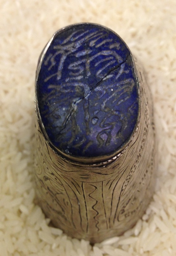 Ring Middle Eastern Silver Etched Lapis Tribal Ring Handmade Handcrafted Ceremonial Status Elder Men Gift Blue Lapis Statement Unique