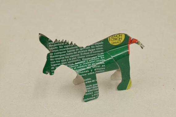 Toy Donkey African Recycled Green Red Yellow Tin Can Tanzania Handmade VintageToys Donkey Animals Recycled Tin Unique One of a Kind