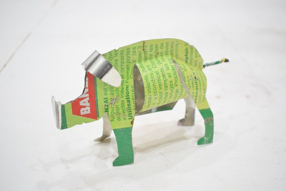 African Folk Art Toy Pig Recycled Tin Can Pig Tanzania Toy Pig