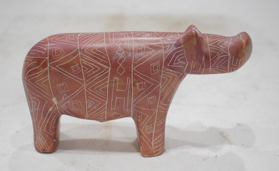 Hippo Soapstone Carved Design Hand Painted Hippo Kenya