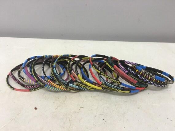 African Bracelets Tuareg  Handmade Woven Plastic Mixed Colorful Bracelets