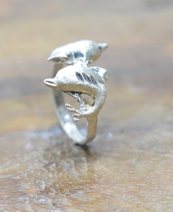 Ring Sterling Silver Double Dolphin Ring
