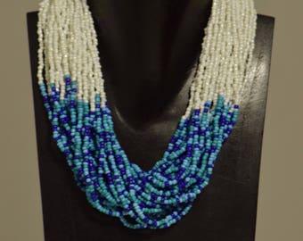 Necklace India Multi Strand Blue White Glass Beads Handmade Jewelry Turquoise Royal Blue White Beaded Neckace