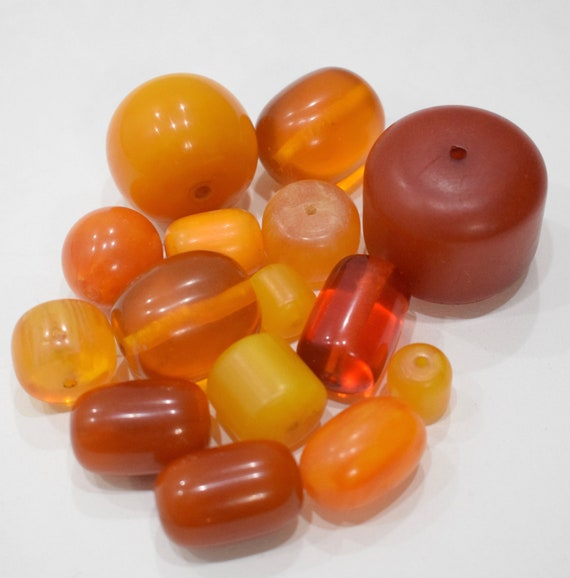 Beads Amber Assorted Yellow Red Amber Copal Vintage Beads 14mm - 38mm